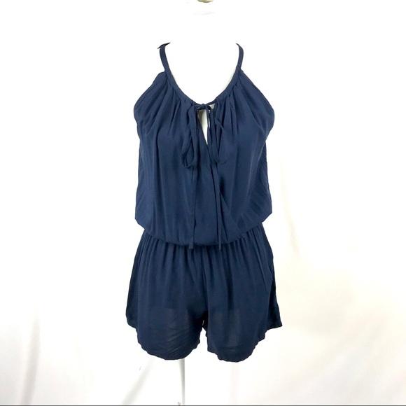 76b93203a19f Max studio navy blue sleeveless shorts romper